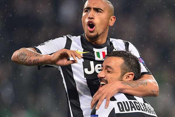 Vidal aporta con una asistencia en c�modo pase de la Juventus a cuartos de la Champions