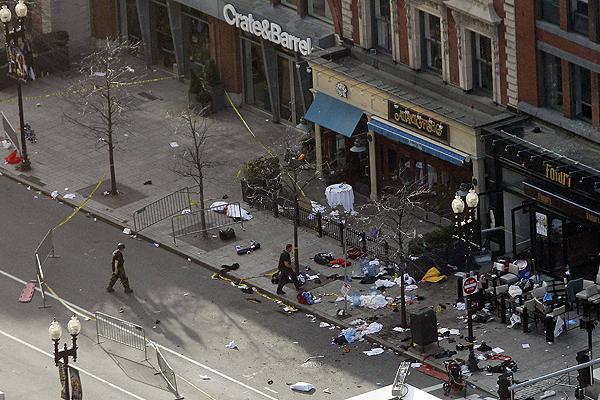 Uno de los lugares donde explotaron las bombas en Boston.