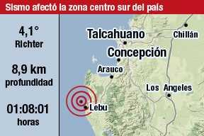 Sismo de 4,1 Richter sacudi� a la Regi�n del Biob�o y La Araucan�a